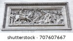 "Small photo of Paris; France- May 01; 2017: Triumphal arch on the Champs Elysees.Bas-relief ""The Egyptian campaign of Bonaparte, and the battle with the Turkish army under Abukir in 1799"""
