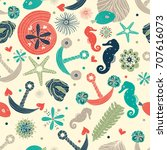 cute sea seamless pattern. | Shutterstock .eps vector #707616073
