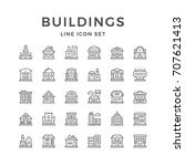 set line icons of buildings... | Shutterstock .eps vector #707621413