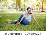 asian woman practicing yoga in... | Shutterstock . vector #707654227