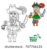 cute girl in pirate costume... | Shutterstock .eps vector #707706133