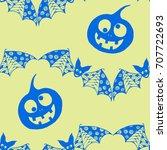 halloween background with... | Shutterstock .eps vector #707722693