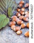 walnuts. macro image with... | Shutterstock . vector #707740027