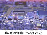 closeup on electronic board in... | Shutterstock . vector #707750407