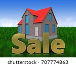 3d illustration of house with... | Shutterstock . vector #707774863
