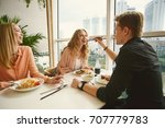 young people small group eat... | Shutterstock . vector #707779783