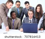 manager and business team in... | Shutterstock . vector #707816413