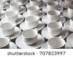 Large Group Of White Coffee Te...