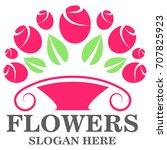 flowers logo template vector... | Shutterstock .eps vector #707825923