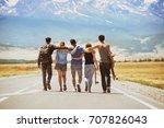 group of five happy friends... | Shutterstock . vector #707826043