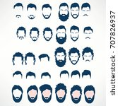 hipster vector set  hair and... | Shutterstock .eps vector #707826937