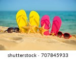 glasses with yellow and pink... | Shutterstock . vector #707845933