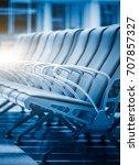 row of empty seats in airport... | Shutterstock . vector #707857327