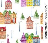 watercolor town objects pattern.... | Shutterstock . vector #707871097