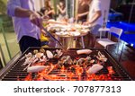 selective focus on roasted... | Shutterstock . vector #707877313