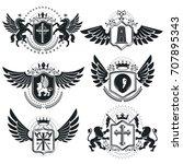 luxury heraldic vectors emblem... | Shutterstock .eps vector #707895343