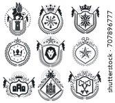retro vintage insignias. vector ... | Shutterstock .eps vector #707896777