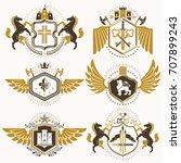 heraldic vector signs decorated ... | Shutterstock .eps vector #707899243