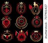 set of vector vintage elements  ... | Shutterstock .eps vector #707901427