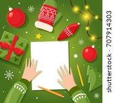 letter to santa claus writes... | Shutterstock .eps vector #707914303