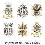 royal symbols lily flowers ... | Shutterstock .eps vector #707915287