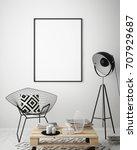 mock up poster frame in hipster ... | Shutterstock . vector #707929687
