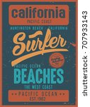 vintage surfing graphics and... | Shutterstock .eps vector #707933143