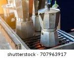 moka pot coffee maker on stove   Shutterstock . vector #707963917