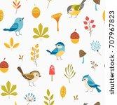 autumn floral seamless pattern... | Shutterstock .eps vector #707967823