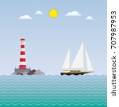 sailboat and lighthouse ... | Shutterstock .eps vector #707987953