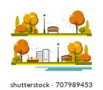 autumn landscape background.... | Shutterstock .eps vector #707989453