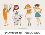 hand drawn girls characters... | Shutterstock .eps vector #708004303