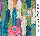vector seamless print of leaves ... | Shutterstock .eps vector #708014263