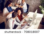 group of young employees in... | Shutterstock . vector #708018007