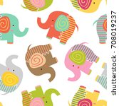 seamless pattern with baby... | Shutterstock .eps vector #708019237