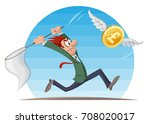 funny man trying to catch pound ... | Shutterstock .eps vector #708020017