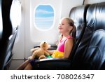 child in airplane. kid in air... | Shutterstock . vector #708026347