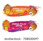 indian religious festival durga ...   Shutterstock .eps vector #708030097
