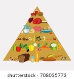 food pyramid. the principle of... | Shutterstock . vector #708035773