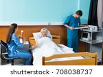 nurse and doctor conducting... | Shutterstock . vector #708038737