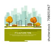 autumn landscape background.... | Shutterstock .eps vector #708051967