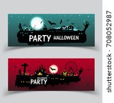 happy halloween banner. set... | Shutterstock .eps vector #708052987
