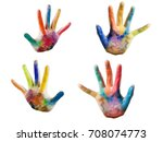 close up of colored hand....   Shutterstock . vector #708074773