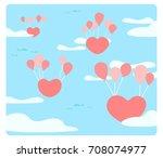 heart is floating on the sky...   Shutterstock .eps vector #708074977