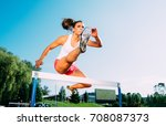 professional female athlete... | Shutterstock . vector #708087373