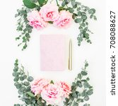 floral frame of pink rose and... | Shutterstock . vector #708088627