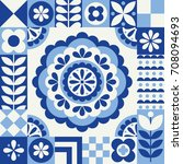 cute pattern in danish folklore ... | Shutterstock .eps vector #708094693