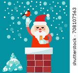 christmas card with santa claus ... | Shutterstock .eps vector #708107563