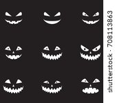 scary halloween pumpkin faces... | Shutterstock .eps vector #708113863