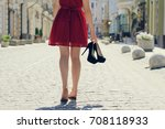 woman in elegant red dress... | Shutterstock . vector #708118933